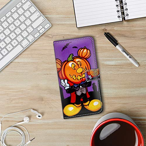 DISNEY COLLECTION iPhone Xr Wallet Case with Kickstand (2018) [6.1 Inch] Free Mickey Mouse Halloween Screensaver Magnetic]()