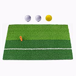 "Ownsig Golf Mat 12""x24"" Practice Hitting Mat For Indoor With Rubber Tee Holder & 3 Golf Balls, Two-color Grass"