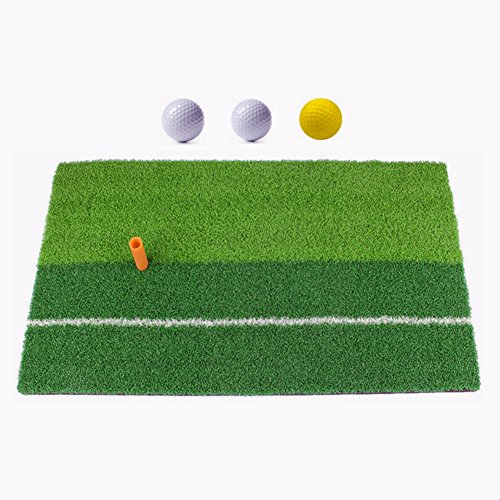 "Ownsig Golf Mat 12""x24"" Practice Hitting Mat for Indoor with Rubber Tee Holder and 3 Golf Balls, Two-color grass"