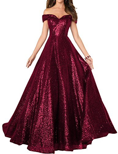 - 2018 Off The Shoulder Sequined Prom Party Dress for Women A Line Empire Waist Sweetheart Neck Formal Evening Gown Floor Length Elegant Costume SHPD41-S Burgundy Size 12