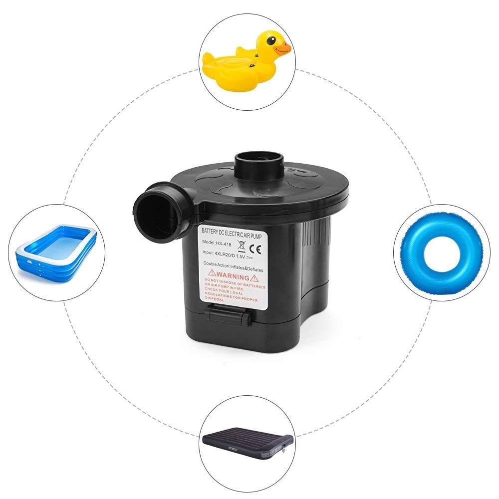 BEST4U Pompe /à Air Electrique sans Fils Pompe /à Air Aliment/é par Batterie Quick Gonfleur et D/éflateur pour Lits dair Jouets Lilos Pools Batterie 4D, Non Incluse