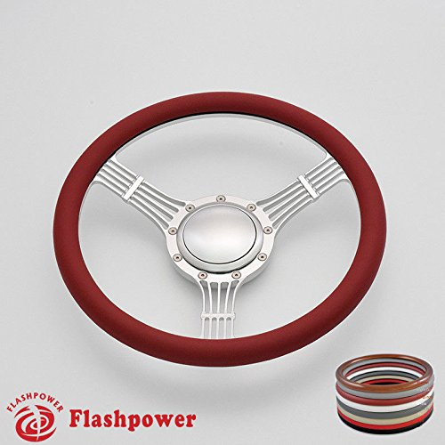 Flashpower 14'' Billet Banjo Half Wrap Steering Wheel with 9 Bolts 2'' Dish and Horn Button (Billet Steering Wheel Horn Buttons)