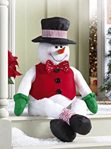 Collections Etc - Stuffable Stanley Snowman Holiday Porch Greeter