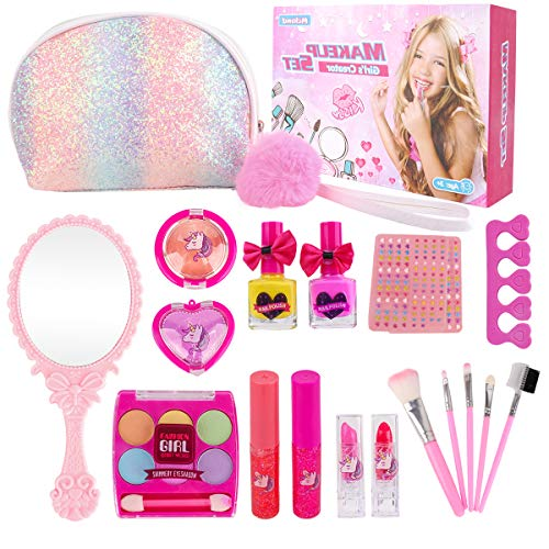 Girl Makeup Kit - Kids Real Washable Play Makeup Toy for Toddler Gifts Age 2 3 4 5 6 7, FDA Approved Princess Cosmetics Set with Glitter Purse, Nail Polish, Make up Brush, Eyeshadow, Lip Gloss, Blush