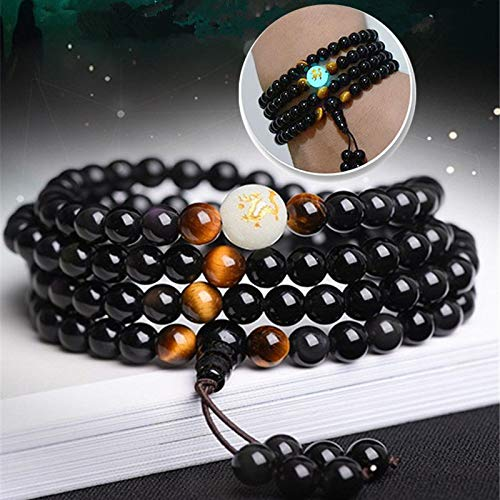 Gabcus New Natural Obsidian Carving Dragon Buddha Bracelet Necklace Tiger Eye Stone Beads Bracelet Glow in Dark Rosary Bracelets - (Metal Color: 6mm Beads)
