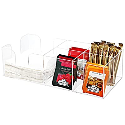 5 Compartment Modern Acrylic Coffee Accessories Caddy / Tabletop Paper Napkin Dispenser Rack