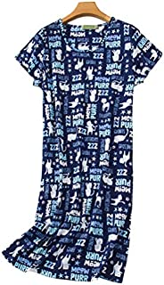 Vecardi Women's Cotton Nightgown Short Sleeves Sleepshirt Casual Sleepwear Print Sleepdress