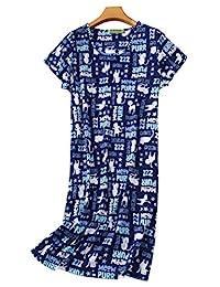 Vecardi Women's Cotton Nightgown Short Sleeves Sleepshirt Casual Sleepwear Print Sleepdress S-XL
