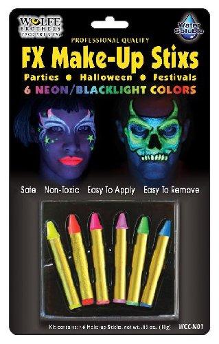 Wolfe Bright Face Paint Makeup Stix (6/box) -