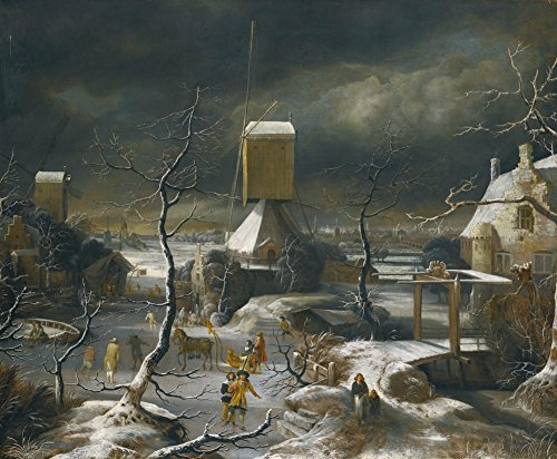Jan Beerstraaten - Winter Landscape with Figures Skating, Size 11x14 inch, Canvas art print wall décor