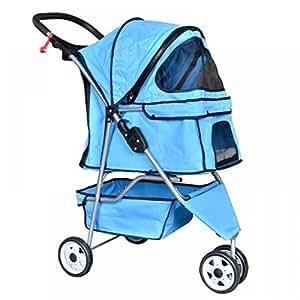 New Pet Stroller Cat Dog Cage 3 Wheels Durable mesh Ventilation Stroller Travel Folding Carrier Blue #437