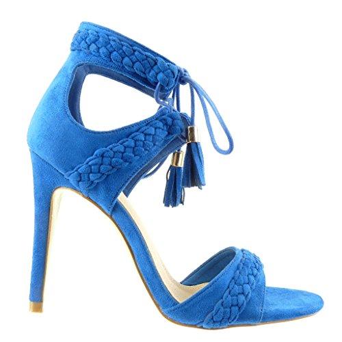 Angkorly - Scarpe da Moda sandali scarpe decollete stiletto aperto donna intrecciato pon pon frange Tacco Stiletto tacco alto 11 CM - Blu