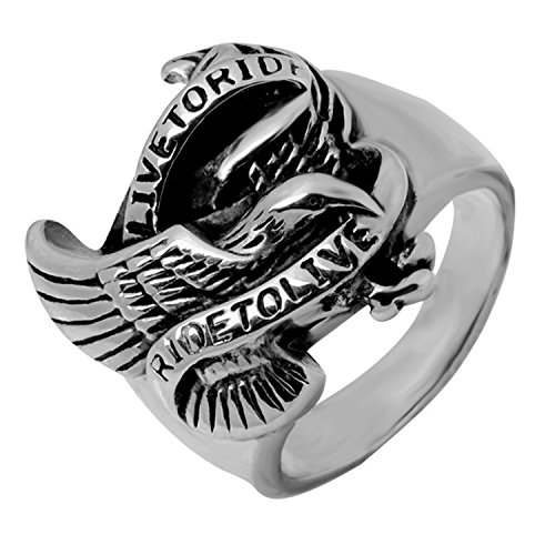 Men's Biker Stainless Steel Jewelry Silver Eagle Ring