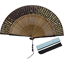 JSSWB Beautiful Hand Made Brown Silk Fan on Natural Bamboo