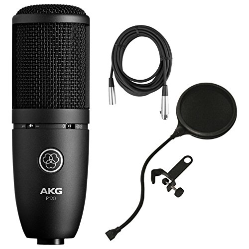 AKG Perception 120 Large Diaphragm Condenser Microphone w/Planet Waves 10' Mic Cable and Pop Filter