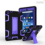 Case for Fire 7 (2015 Released),LittleMax(TM) [High Impact] Kickstand Protective Case Daul Lay Robot Soft Gel Tough PC Amazon Fire 7 Inch Tablet Cover [Free Cleaning Cloth,Stylus Pen]-Black Purple
