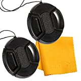 PROST 2 Pcs Lens Cap Cover Center Pinch Snap On Front Lens Cap for Canon, Nikon, Sony DSLR Camera (52mm)