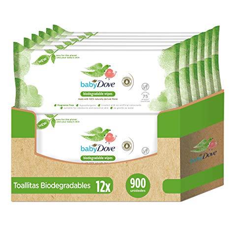 🥇 Baby Dove Toallitas Húmedas para bebés biodegradables – Pack de 12 x 75