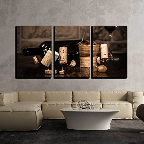 wall26 - 3 Piece Canvas Wall Art - Concept Lot of Alcohol on a Party by Wine Cork Figures - Modern Home Decor Stretched and Framed Ready to Hang - 24