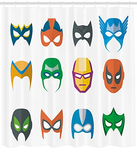 Ambesonne Superhero Shower Curtain, Hero Mask Female Male Costume Power Justice People Fashion Icons Kids Display, Fabric Bathroom Decor Set with Hooks, 75 Inches Long, ()