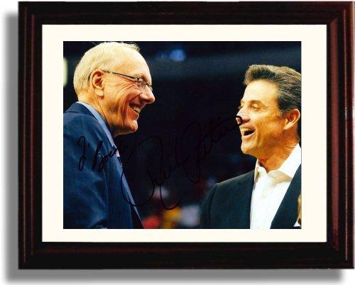 Framed Jim Boeheim and Rick Pitino Autograph Replica Print - Syracuse Orange and Louisville -