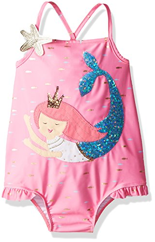 Mud Pie Baby Girls Mermaid Ruffle One Piece Swimsuit, Pink, 4T]()