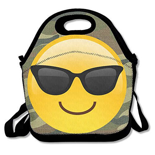 Hoeless Sunglasses Emoji Insulated Lunch Box With Zipper,Carry Handle And Shoulder Strap For Adults Or Kids - Sunglasses Meme Emoji