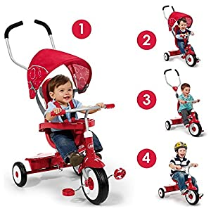 Radio Flyer 4-in-1 Trike, Red- Children's Tricycle- Push-Handle- Unique Stroller Style Canopy- Sturdy Steel Frame- Adjustable Seat