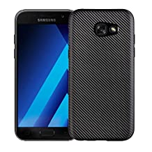 MOONCASE Galaxy A5 2017 Case, Carbon Fiber Resilient [Drop Protection] [Anti-Scratch] Rugged Armor TPU Case Cover for Samsung Galaxy A5 2017 SM-A520 5.2 Inch Black