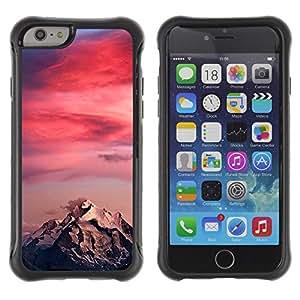 Híbridos estuche rígido plástico de protección con soporte para el Apple iPhone 6 (4.7) - sunset colors pink climber