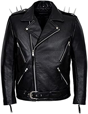 Men/'s Leather Jacket Black Suede HIDE Classic Motorcycle Biker Style BRANDO