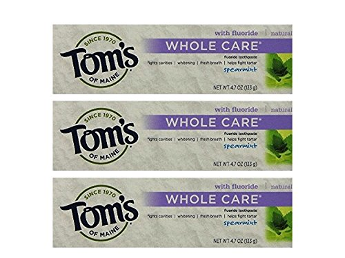 Tom's of Maine Whole Care Toothpaste With Flouride Spearmint Flavor 4.7 Ounce Tube (pack of 3)