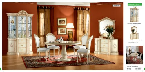 ESF Rossella 5 Pieces Traditional Ivory Finish Classic Italian Dining Room Set Comp 2