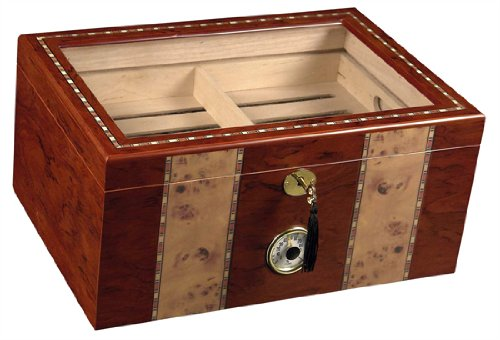 (Tobacco-Buddy 180 ct Clear TOP RED Wood Cigar HUMIDOR)