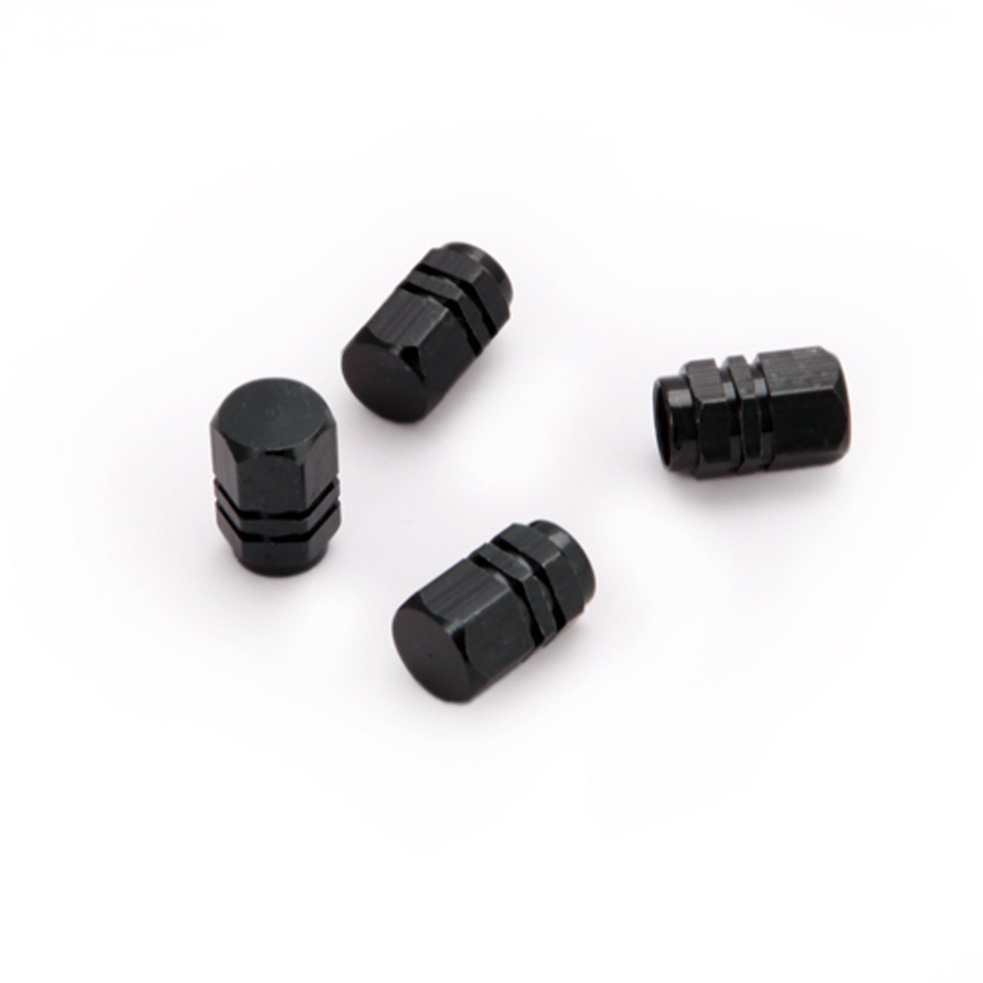 Aluminum Material Hexagon Car Tire Valve Caps 4 Pcs/set (Black)