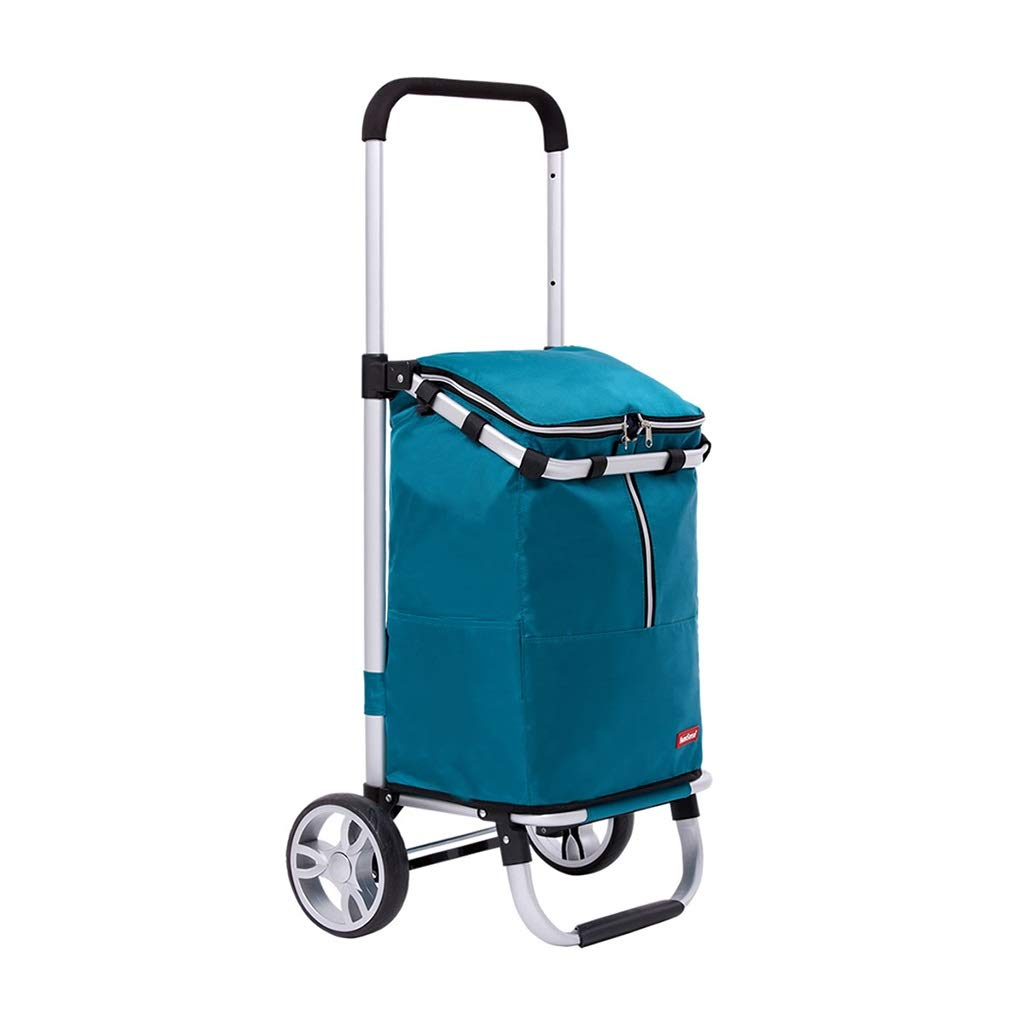 大容量の食料品のバスケットのキャリアの携帯用車輪が付いているショッピングトロリー新しいアップグレードされた超軽量の食料品荷物カート (色 : 青) B07T3LPKG2 青
