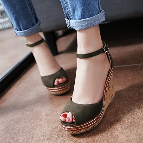 COOLCEPT Women Fashion Ankle Strap Sandals Peep Toe Wedge Heel Shoes Green MlQwc