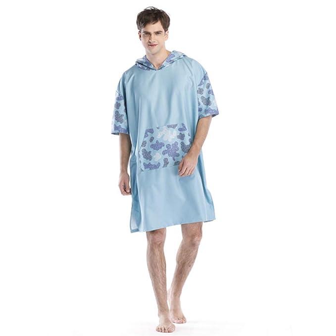 Traje de cambio de toalla Poncho Batas de microfibra unisex para adultos Toalla Poncho Capa azul-verde Costura Engrosamiento Poncho para surfear Traje de ...