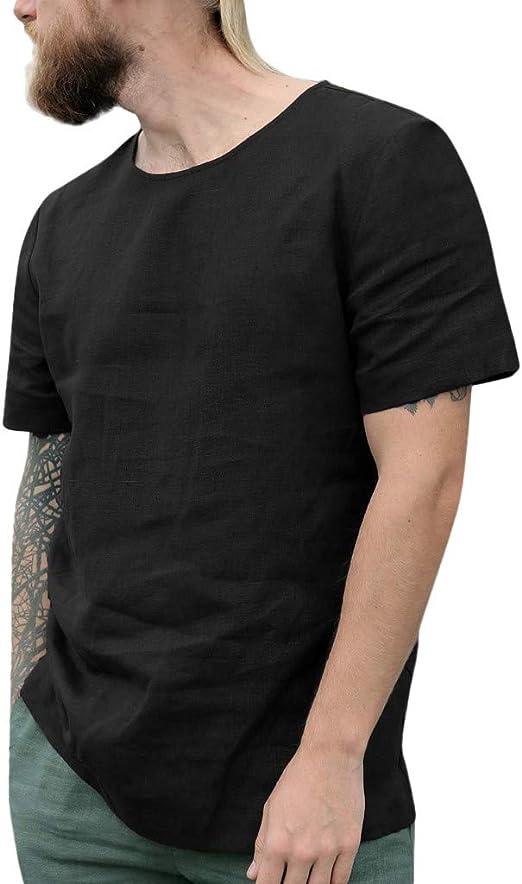 Camisa de Lino para Hombre, Manga Corta, Playera de Playa Henley, Verano, Manga Corta, Cuello Redondo, Casual, Camiseta, Camiseta, Camiseta Ligera de algodón Negro Negro (XXXL: Amazon.es: Ropa y accesorios