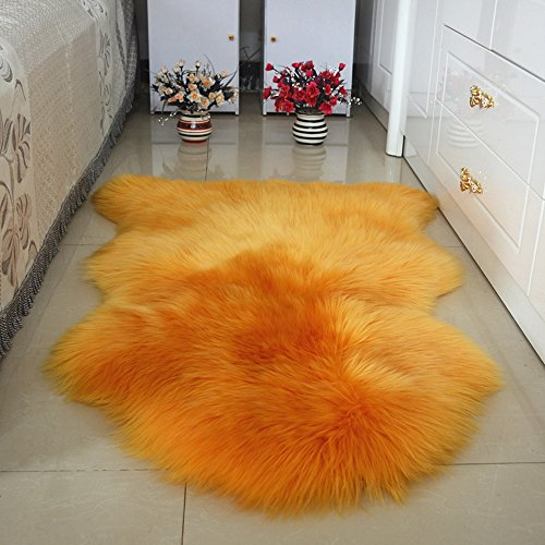 Genuine Australian Sheepskin Rug for Babies-Singel Natural Luxuriously Soft Shorn Lambskin Wool,28x43in.Orange (Sheepskin Rug Orange)