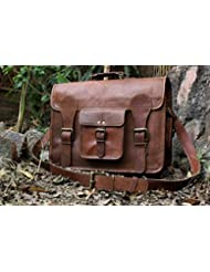 Hlc Leather Messenger Bag Brief Case Bag Genuine Leather Bag Laptop Bag Satchel Messenger Leather Bag