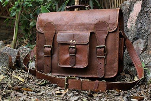 Hlc Leather Messenger Bag Brief Case Bag Genuine Leather Bag Laptop Bag Satchel Messenger Leather Bag
