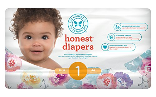 Honest Baby Diapers, Rose Blossom, Size 1, 176 Count