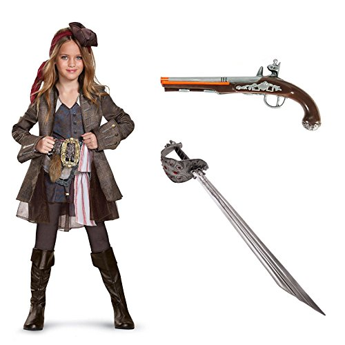 Pirates of the Carribean Captain Jack Girl's Deluxe Costume Kit S - Poseidon Trident Costumes