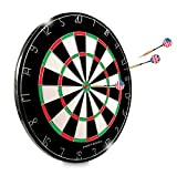 Dartboard - 18'' Regulation Sized Tournament Dartboard | 2 Sided - Classic 20 Point & Circular Bulls-Eye | 6 Steel Tipped Brass Darts design for Long Life and Flawless Performance | Great for Basement