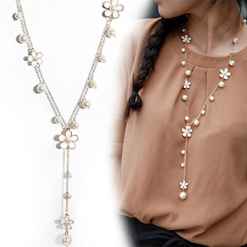 QTMY Women Y Necklace Elegant Pearl Flower Fringe Tassel Long Chain Pendant Necklace 2018 Fashion Jewelry (White)