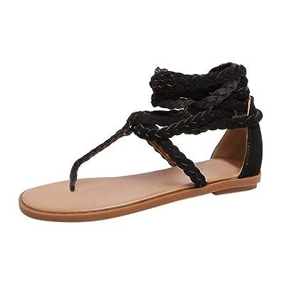 Womens Boho Cross Strap Sandals Flip Flops Flat Ladies Summer Beach Shoes Size