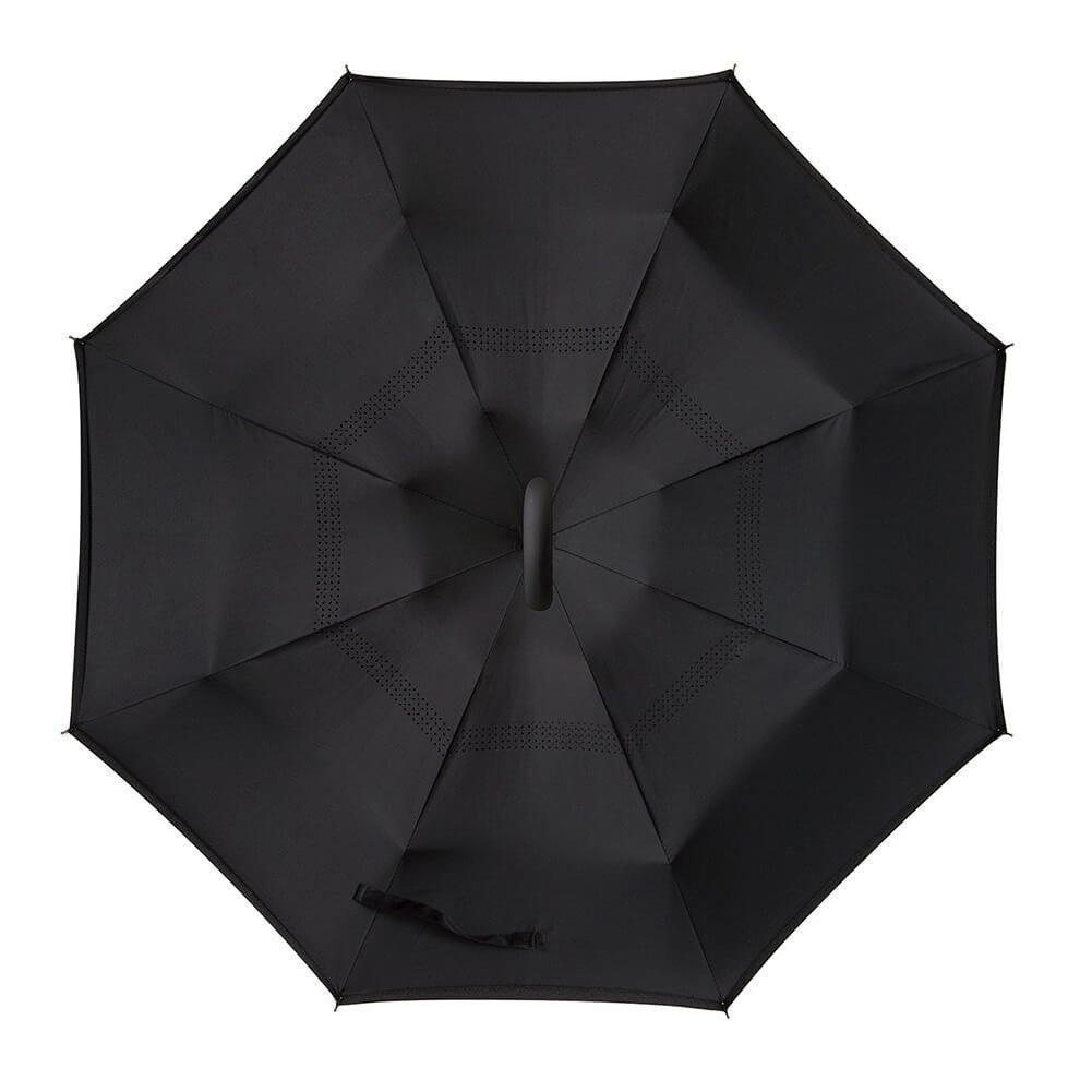 Tdogs Black Inverted Umbrella, Rain Wind Sun-proof Free-style C-Shaped Handle Folding Umbrellas with Rain Cover Car Reverse Umbrella Outdoor Use