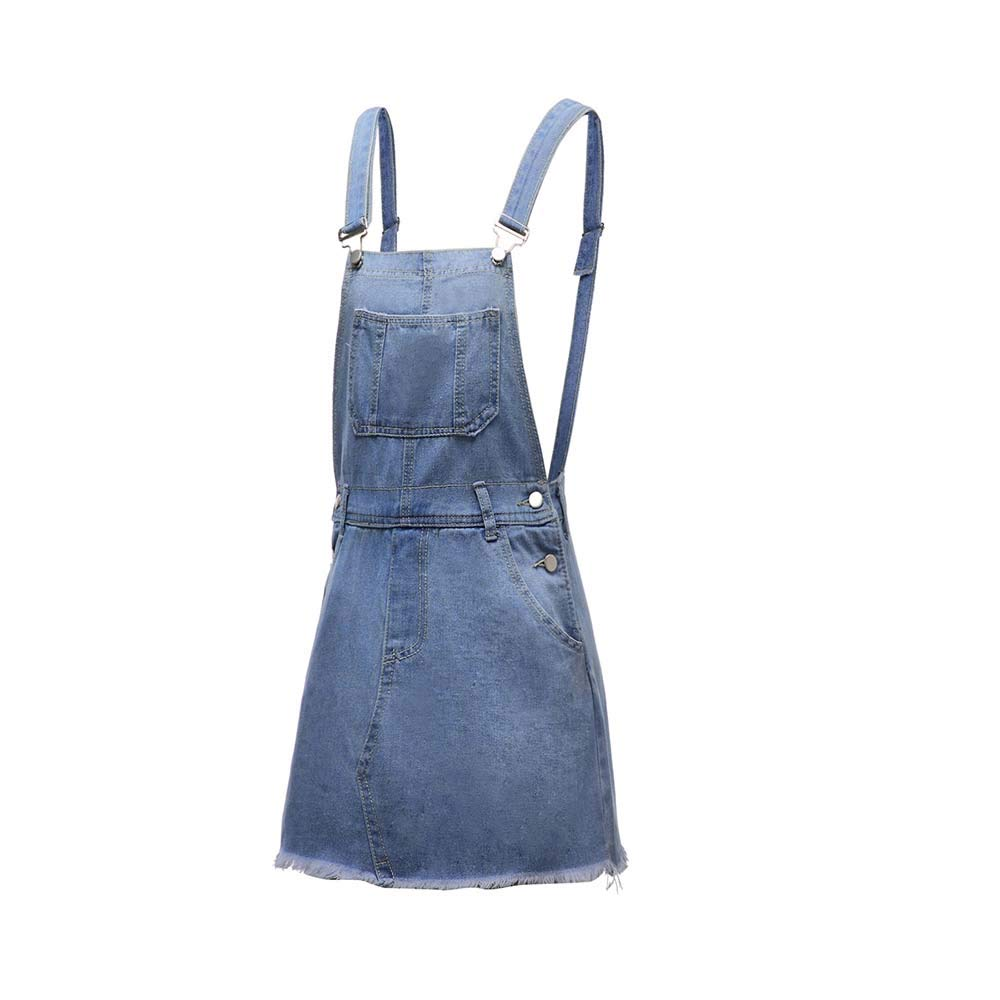 Huateng Salopette Intera con Salopette da Donna in Denim con Gonna