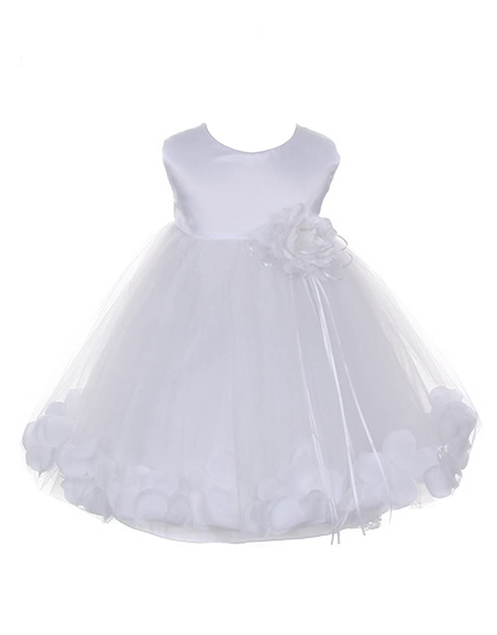 22a5b312b4b Amazon.com  Petals White Satin Satin Tulle Wedding Flower Girl Dress ...